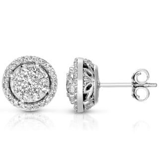 14k White Gold 3/4ct TDW Pave Halo Diamond Stud Earrings (I.G.I)