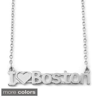 Gold Over Silver I Love Boston City Nameplate Necklace