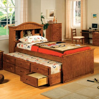 Furniture of America Benjamin American Oak Captain Bed with Storage Trundle