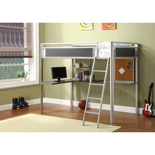 Furniture of America Exannis Silver and Dark Gray Metal Twin Loft Bed with Workstation