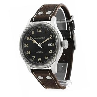 Hamilton Men's H60515533 Khaki Pioneer Black Dial Leather Watch