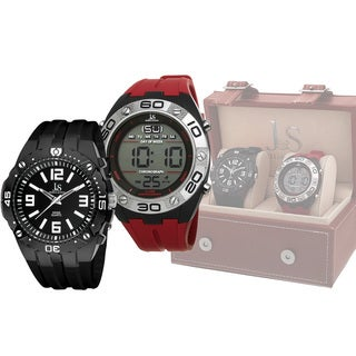 Joshua & Sons Men's Swiss Quartz Digital/Analog Strap Watch Set