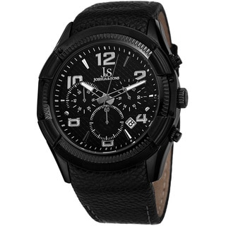Joshua & Sons Men's Chronograph Leather Black Strap Watch