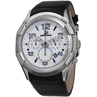 Joshua & Sons Men's Chronograph Genuine Leather Strap Watch