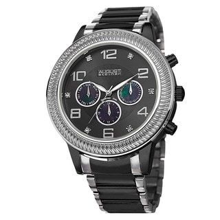August Steiner Men's Diamond Swiss Quartz Multifunction Bracelet Watch