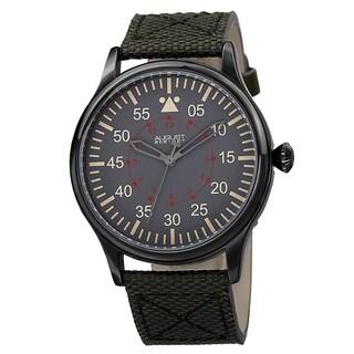 August Steiner Men's Swiss Quartz Canvas Green Strap Watch