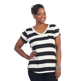 Hadari Women's Plus Size Black/ White Striped Short Sleeve T-shirt