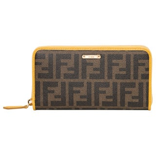 Fendi Zucca Tobacco/ Yellow Continental Wallet