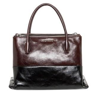 Miu Miu Two-tone Brown/ Black Glossed Leather Tote Bag