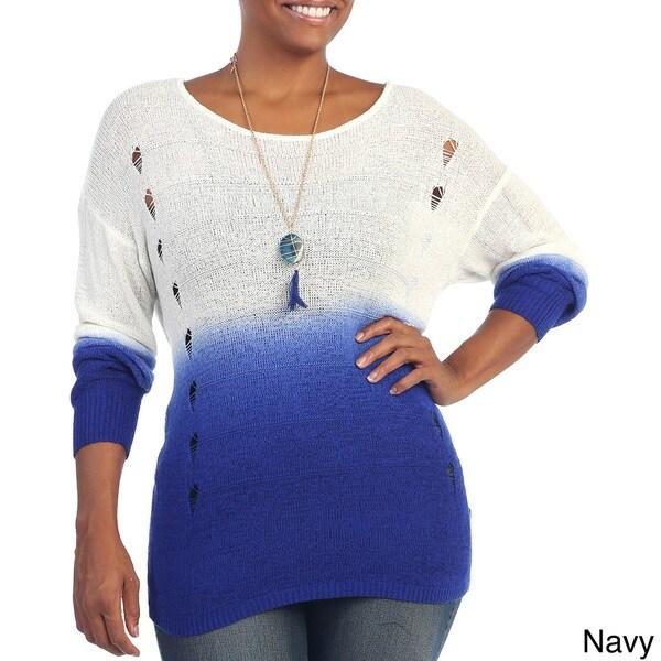 Hadari Women's Plus Size Ombre Long Sleeve Knit Top