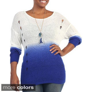 Hadari Women's Plus Size Ombre Long Sleeve Knit Top