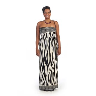 Hadari Women's Plus Size Strapless Animal Print Maxi Dress