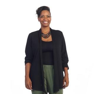 Hadari Women's Plus Size Black Casual Open Cardigan