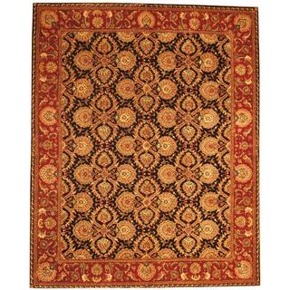 Herat Oriental Indo Hand-tufted Tabriz Black/ Red Wool and Silk Rug (8' x 10')