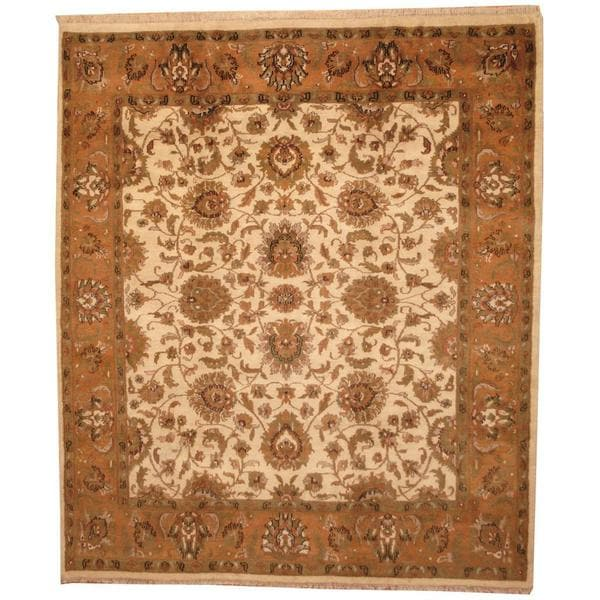 Herat Oriental Indo Hand-knotted Mahal Beige/ Tan Wool Rug (8'5 x 9'9) - 8'5 x 9'9 13657212