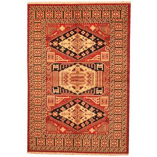 Herat Oriental Indo Hand-knotted Kazak Red/ Navy Wool Rug (6'7 x 9'9)
