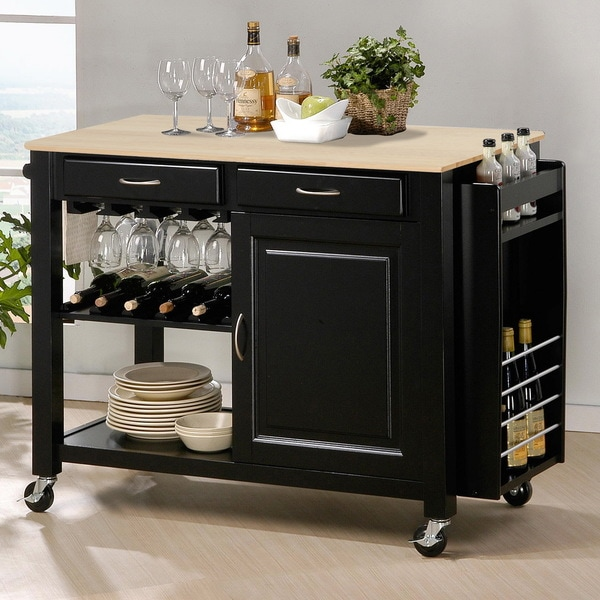 Baxton Studio Phoenix Black Modern Kitchen Island with Wooden Top