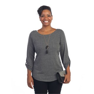 Hadari Women's Plus Size Grey 3/4 Sleeve Knit Top