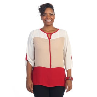 Hadari Women's Plus Size Keyhole 3/4-length Sleeve Scoop Neck Top