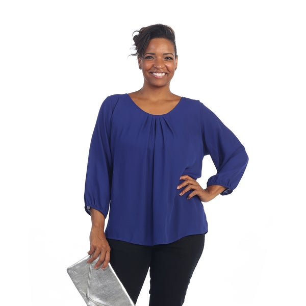 Hadari Women's Plus Size Royal Blue Scoop Neck Long Sleeve Sheer Top