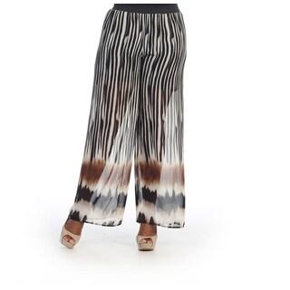 Hadari Women's Plus Size Stripe Sheer Pallazo Pants