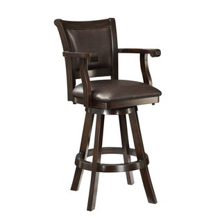 Traditional Deep Cherry Bar Stool with Scroll Arms