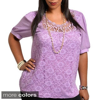 Stanzino Women's Plus Size Lace Detailed Short Sleeve Top