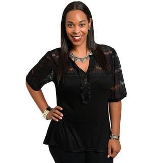 Stanzino Women's Plus Size Lace Inset Black Blouse