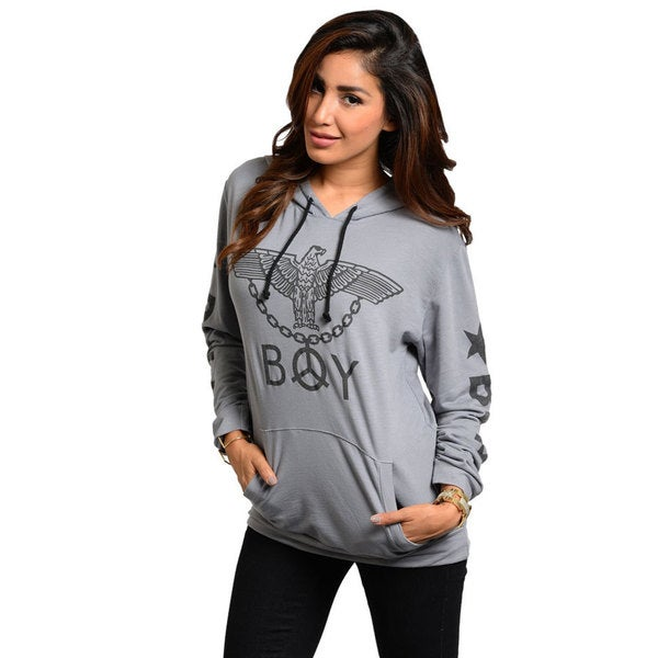 Stanzino Women's Long Sleeve Grey Hooded Sweater