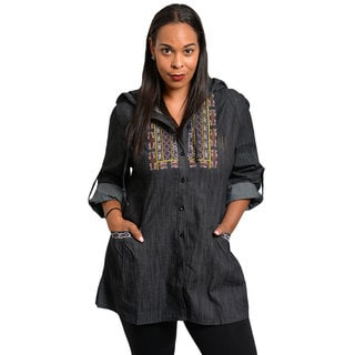 Stanzino Women's Plus Size Hooded Button Down Tunic