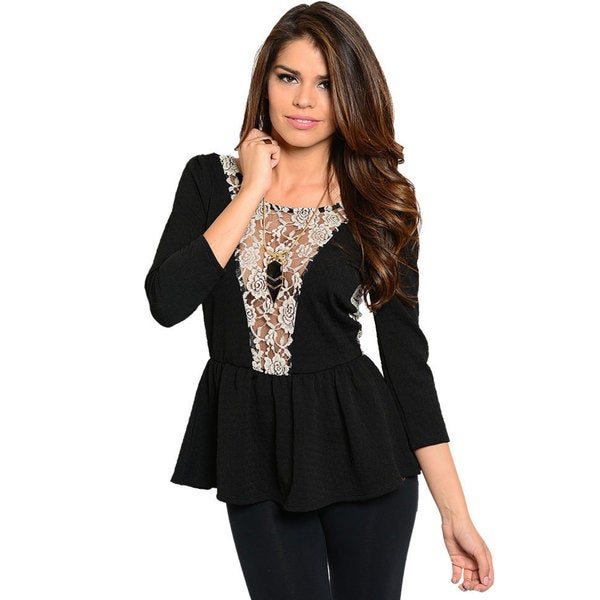 Stanzino Women's Black Lace Detailed 3/4-length Sleeve Peplum Top