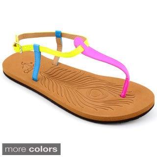 Women's 'Crayola' Mulitcolor T-strap Flat Sandals