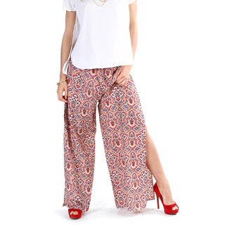 Women's Red Abstract Palazzo Pants with Side Slits