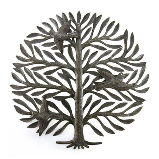 Handcrafted Recycled Steel Drum Tree of Life with Birds Wall Art (Haiti)