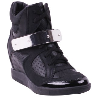 Apollo Women's Black Hidden Wedge Sneakers