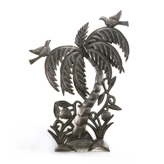 Handcrafted Recycled Steel Drum 3D Palm Tree Wall Art (Haiti)