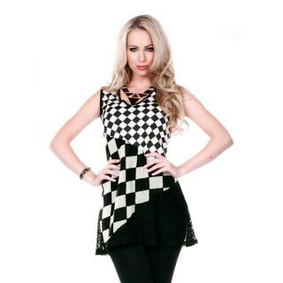 Women's Sleeveless Black/ White Check Duo Pattern Tunic