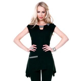 Women's Cap Sleeve Keyhole Neckline Tunic