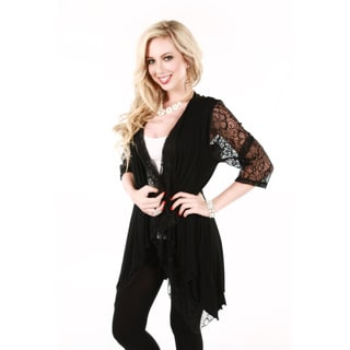 Women's Black Long Sleeve Open Front Lace Tunic