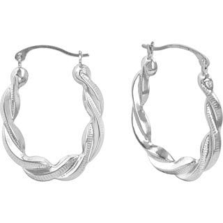 14k White Gold Polished Oval Hoop Earrings