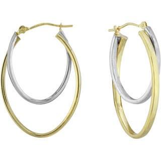 14k Two-tone gold Double Oval Hoop Earrings