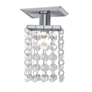 Chrome 1-light Mini Flush Mount with Clear Crystals