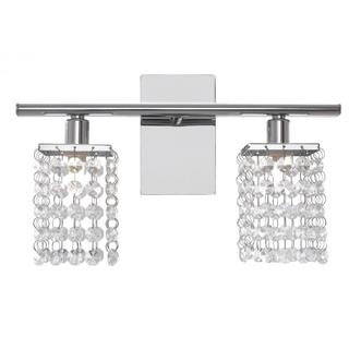 Chrome 2-light Vanity Wall Sconce with Clear Crystals
