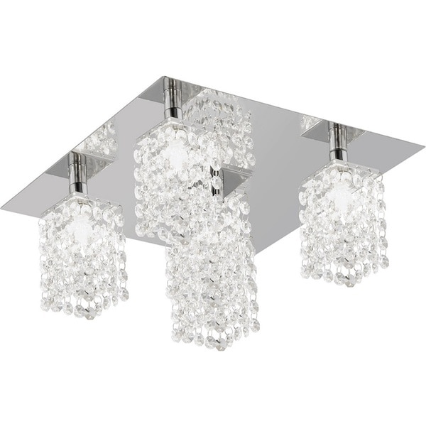 Chrome 5-light Square Flush Mount with Clear Crystals