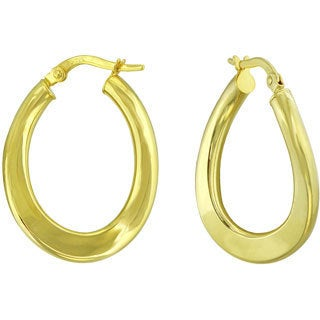 14k Yellow Gold Oval Polished Wave Hoop Earrings