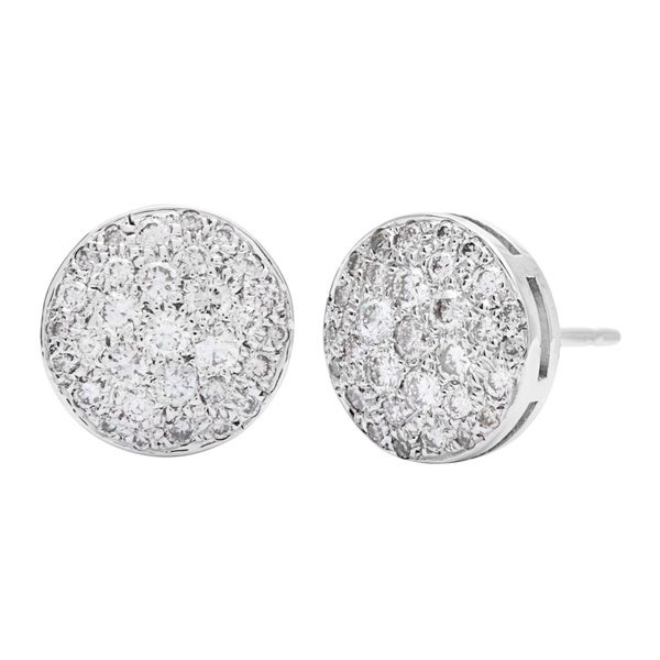 Stud Diamond Earrings 1 1/10ct TDW in 14k White Gold Pave-set by SummerRose 13658747