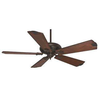 Casablanca 60-inch Brushed Cocoa Fellini Fan with 5 Walnut Regal Hand-carved Wood Blades