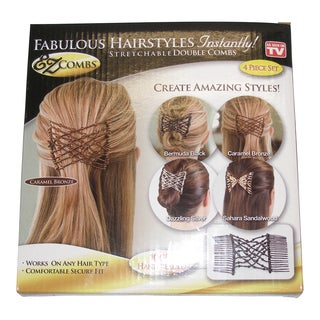 Fabulous Hairstyles EZ Stretchable 4-piece Double Hair Combs Set