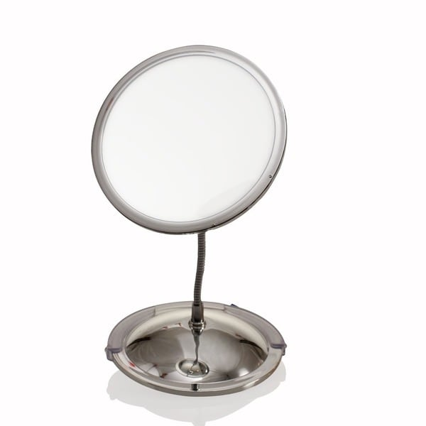 Ovente Vanity Gooseneck Dual Magnification Chrome Mirror with Suction Cups 13658850