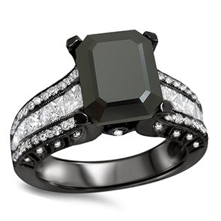 18k Black Gold 4 1/6ct TDW Black and White Emerald-cut Diamond Engagement Ring (F-G, VS1-VS2)